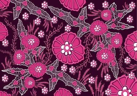 batik: batik indonésien fleur rose