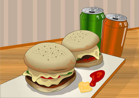 soft drinks: burgers and soft drinks Illustration