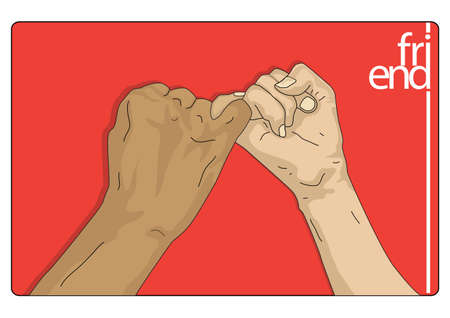 dedo me�ique: signo de la amistad Vectores
