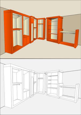 checkroom: wardrobe made of wood