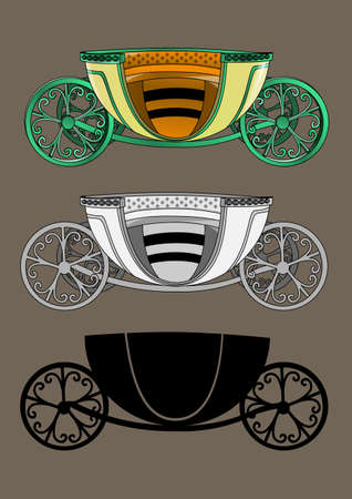 horse drawn carriage: traditional carriage pulled by horses Illustration