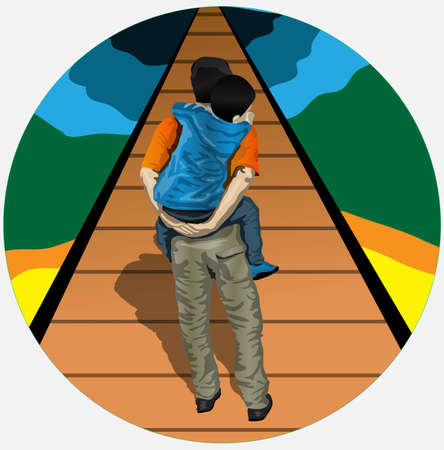 man looking at sky: father carrying his son pass through the bridge life Illustration