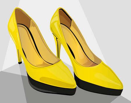 yellow high heels very fancy Illustration