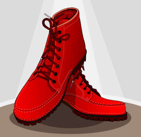 red boots: bright red boots Illustration