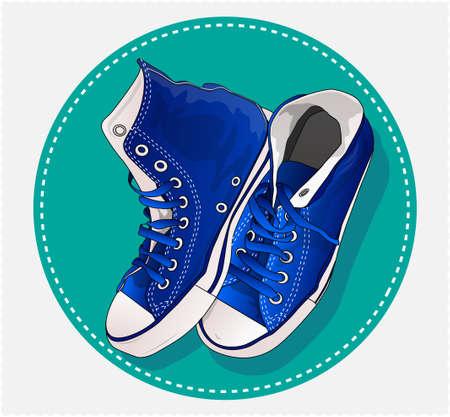 blue sneakers Illustration