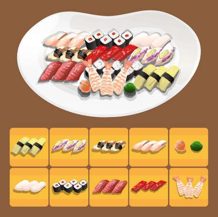 sushi Japanese food is very tasty Illustration
