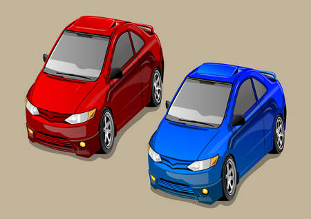 stock clip art icons: small car for the city Illustration