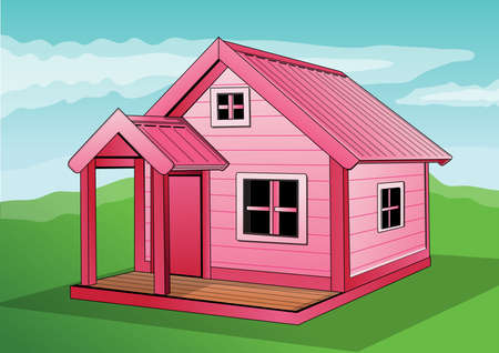 pink house Illustration
