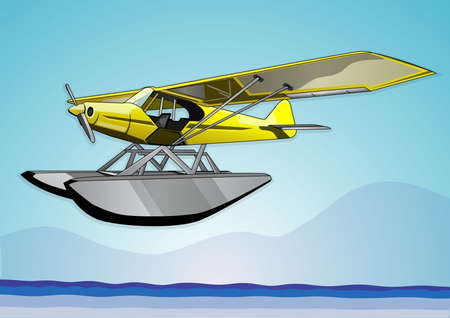 seaplane flying over the sea