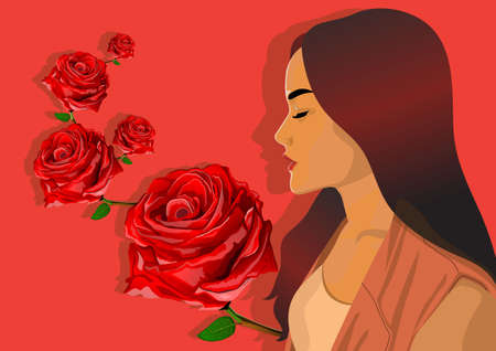 beautiful angel with red rose
