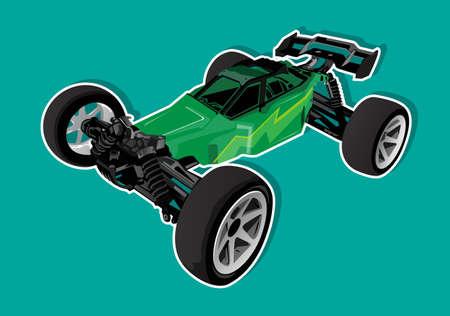 the green buggy car Illusztráció