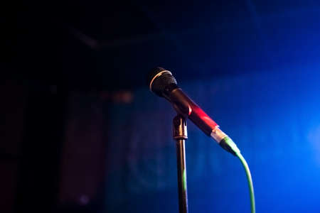 Microphone on a stand in the club for any purpose Stok Fotoğraf