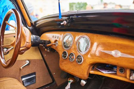 Wooden interior of an old car for any purpose