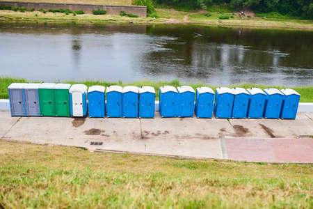bio toilets on the river Bank Banco de Imagens