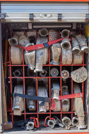Set of fire hoses in the fire truck for any purpose
