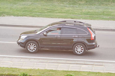 Passenger SUV black in the city for any purpose