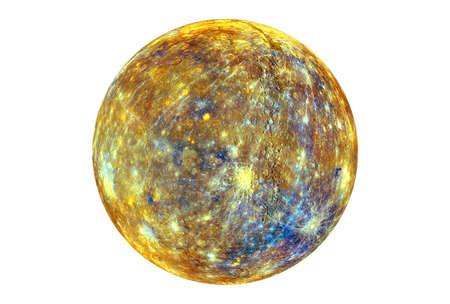 Seltsamer Merkur, mit der auferlegten Wärmebildkarte, isoliert auf weißem Hintergrund.