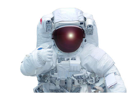 The astronaut shows the sign a class, in a space suit, isolated on a white background.