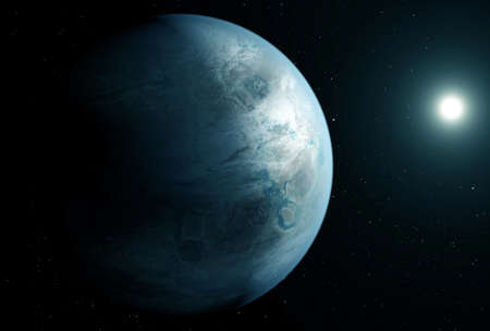 Unusual blue exoplanet, in space, with the sun on the right.