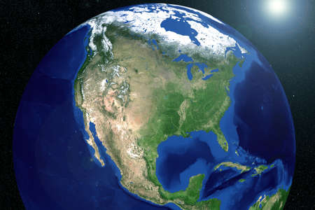 North America from space with the ocean. Elements of this image were furnished by NASA