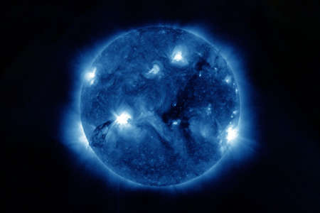 Neutron star, pulsar. On a dark background. Elements of this image were furnished by NASA for any purpose Archivio Fotografico