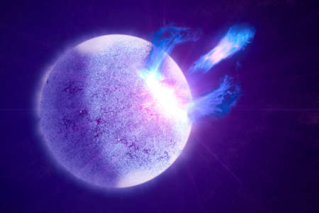 Pulsar star, emits light in different directions. Elements of this image were furnished by NASA. For any purpose. 写真素材