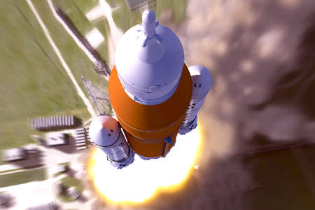 Space rocket launch, top view. Elements of this image were furnished by NASA. Elements of this image were furnished by NASA. For any purpose.