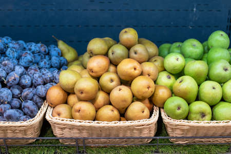 Yellow and green pears, blue plums on the shelf of the refrigerator, in the supermarket. For any purpose. Stockfoto