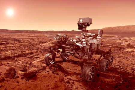 El rover explora el planeta Marte, con el sol en el horizonte. Los elementos de esta imagen fueron proporcionados por la NASA. Los elementos de esta imagen fueron proporcionados por la NASA para cualquier propósito.