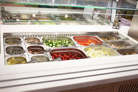 Self-service salad bar in a large store For any purpose. Stockfoto