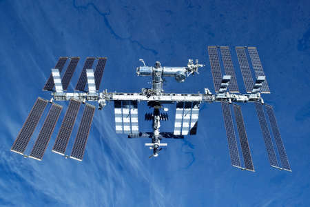 Space station on the background of the earth. In expanded form.