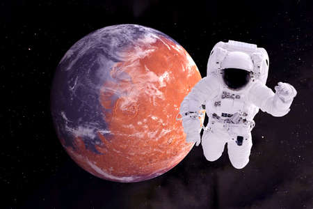 Astronaut in orbit of the red planet.