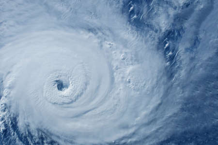Typhoon from space near the coast.