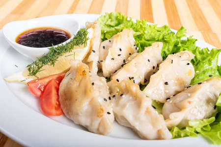 Gyoza on a plate, with herbs and sauce. For any purpose. Stock Photo