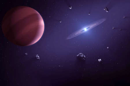 A distant planet in a stream of meteors. With a galaxy in the distance.
