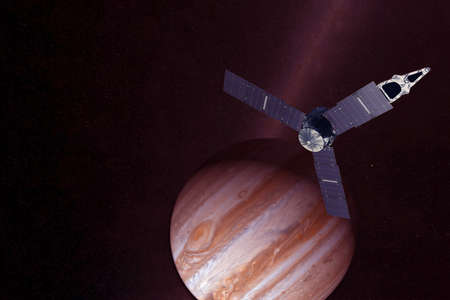 Satellite over Jupiter on a dark background.