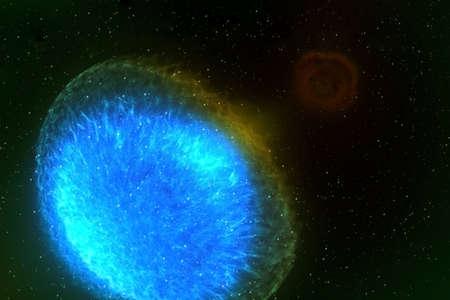 A neutron star, a pulsar, on a dark background. Imagens