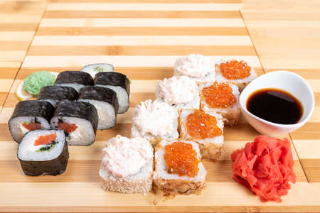 Sushi set rolls with caviar, krill, and other fillings.For any purpose.