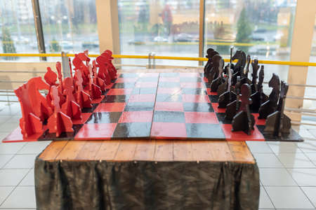 Large wooden table chess, in composed form. For any purpose.