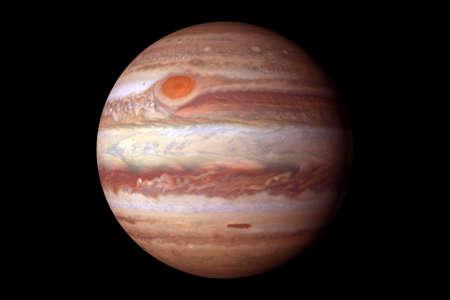 Planète Jupiter, avec une grosse tache. Sur fond noir.