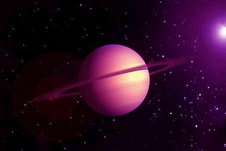 Planeta Saturno, en colores brillantes, sobre un fondo oscuro. Foto de archivo