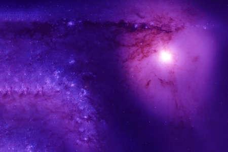 Nébuleuse violette avec une énorme étoile.