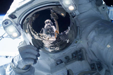 Astronaut in a spacesuit, close-up.