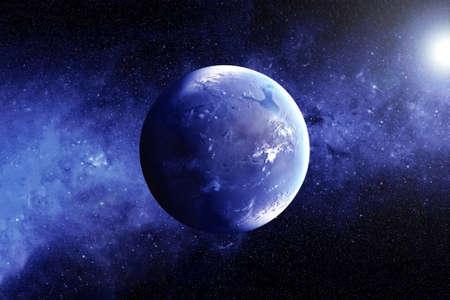 Exoplanète avec l'atmosphère.
