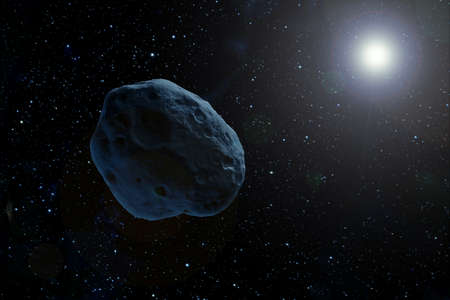 An asteroid in dark space flying to a star. Elements of this image were furnished by NASA. For any purpose.