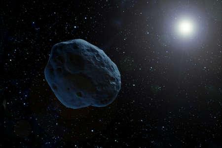 Un astéroïde dans l'espace sombre volant vers une étoile. Les éléments de cette image ont été fournis par la NASA. Pour n'importe quel but.