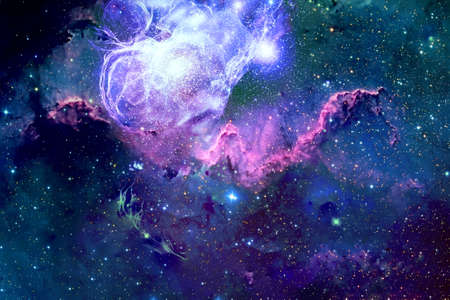 A beautiful nebula of different colors, with stars and galaxies. For any purpose. Foto de archivo