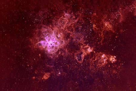 Beautiful galaxy of red color with stars. 版權商用圖片