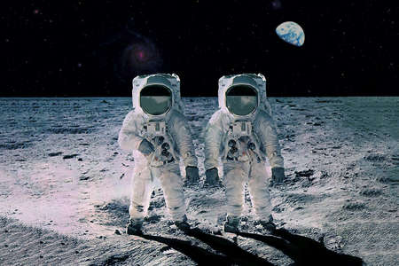 Two astronauts on the moon, with planet earth in the background.