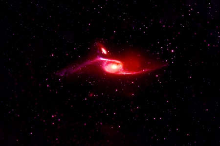 Beautiful space, red nebula. Banque d'images